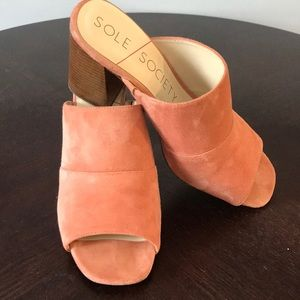 Sole Society Suede Mules in salmon color